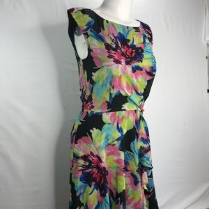 Bold Floral Sleeveless Dress Side Tie Tahari Sz 2